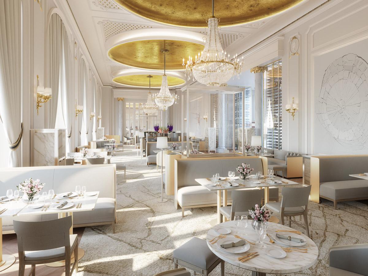 Sala del restaurante de autor de Quique Dacosta en el hotel Mandarin Oriental Ritz, Madrid.